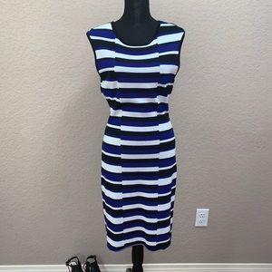 Calvin Klein Blue/Black/White Striped Dress Sz L
